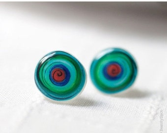 Geometric earring studs  - Turquoise earrings - Spiral earring studs - Color Swirl - Bright earring studs (E007)