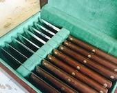 RESERVED - Vintage Cutco Steak Knives Set with Original Wood Storage Box