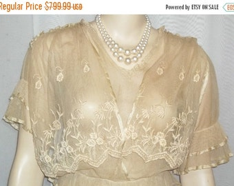 Spooktacular SALE Antique Steampunk Net Lace Dress Victorian Edwardian Flapper Small