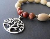 Hippie Yogi Tree Of Life Charm Stretch Bracelet. Light Wood and Red flake Jasper