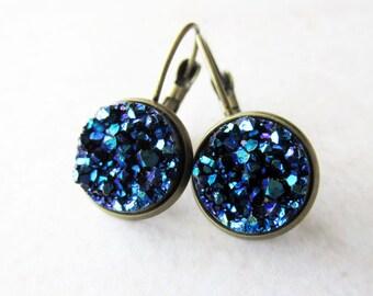 Metallic Cobalt Blue Faux Druzy Drop Earrings