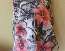 merino wool scarf / felt scarf/ wrap / spring/ pink flowers /gray/silk/merino wool