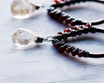 Rutilated Quartz & Carnelian Wrapped Copper Earrings with Sterling Silver