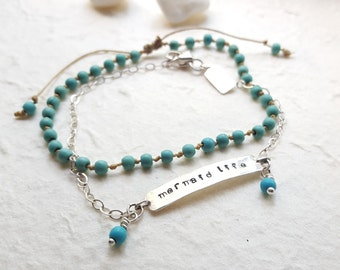 Mermaid Life and Sand and Water Anklet Set - Sterling Silver and Turquoise - Beach Boho - Handmade Hand Stamped