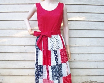 SALE 70s Americana Maxi Dress size Medium Patchwork Red White Blue Patriotic 4th of July