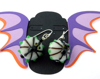 Handmade Lampwork Glass Spider Earrings.  STERLING SILVER Ear Wires.  Glass Bead Halloween Earrings.  Handmade By Me.
