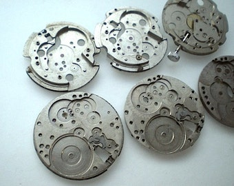 Vintage steampunk watch parts, 6 watch back plates (L23)