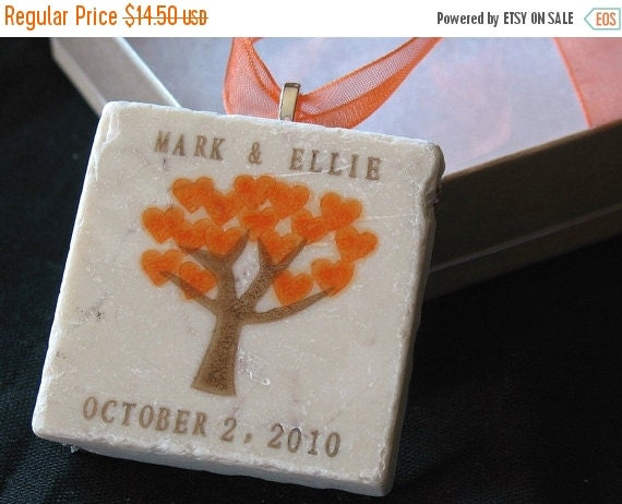 CHRISTMASINJULY Personalized Christmas Ornament - Orange Heart Tree With Gift Box