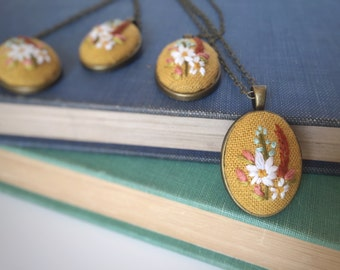 Wildflower Pendant in Mustard | hand embroidered necklace, jewelry keepsake, floral, bouquet, romantic, embroidered jewelry