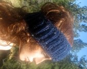 Headband Ear Warmer Ribbed Wool Blend Navy With Flecks of Color Hand Crocheted
