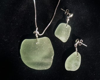 Sea Glass Pendant and Earring Set in Seafoam Green and Sterling Silver