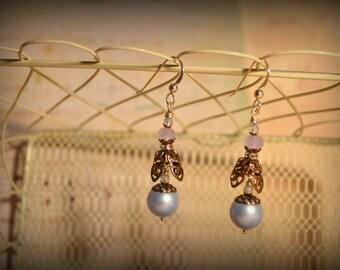 Pearl Drop Earrings- powder blue and bronze