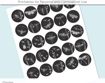 "Vintage Bugs Circle Collage Sheet Black and White 1 inch 1.25"" and 1.5"" Circles Printable Download for Pendant Magnet Bottle Cap Necklaces"