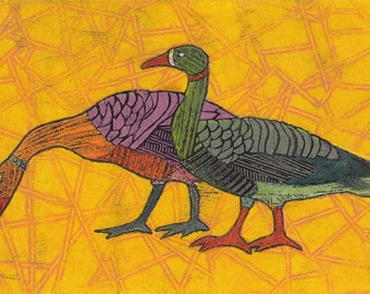 Goose and Gander 5 - Original Fine Art Collagraph of Large Birds on Bright Yellow