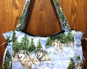Wolves Wolfs in the Snow - Handbag, Purse, Tote, Shoulder Bag, Outside Pockets