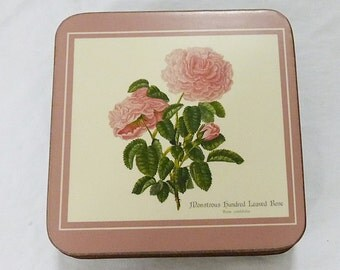 Royal table coasters pink roses queen of the flowers set of 6