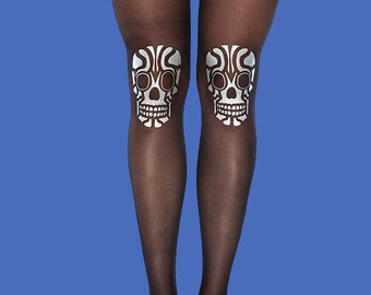 Skull tights sheer black tights with silver matt print available in S-M, L-XL burning man costume