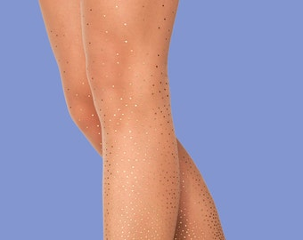 Gift for her, Starry Night sheer nude, polka dots tights available in S-M L-XL XXXL