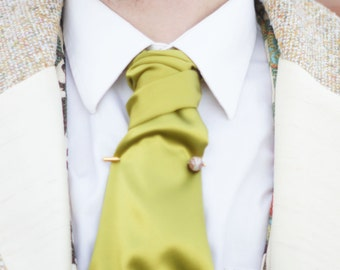 The Poe Cravat----In Lime Silk Charmeuse