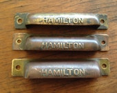 Set of Three HAMILTON Antique Brass or Copper type tray HANDLES Pulls