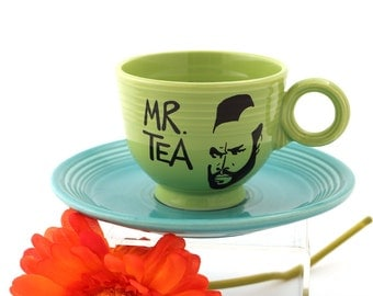 Mr. Tea Teacup and saucer upcycled cup and plate with Mr. T, gift for tea lover, chartreuse and turquoise