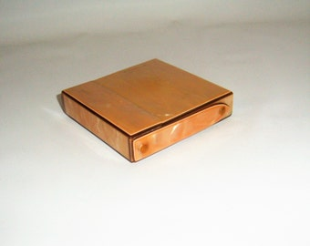 1920s Celluloid Cigarette Case Peach Pearlized Compartmentalized Folding