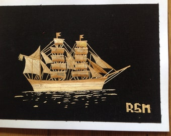 """Sailing ship Handmade with rice straw. Size 5"""" X 7"""" maritime art unique collectible art. Signed and numbered art ready to frame. Marine art"""