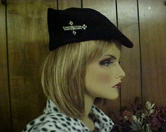 """sale  black hat 100% wool with side deco of rhinestones- fits 21""""-made in USA"""