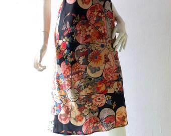 BIBA 70s Style Skirt sz M 4 6 Crepe Hand Made Black Batik Print 1930s Style Fit 'n Flare Wiggle BIBA 70s sz 4 6 Elastic Waist