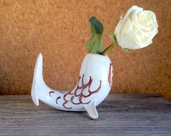 Mid Century Modern Pottery Fish Vase - Unique Marine Motif - Signed Warren - 1950s 1960s Ceramic Coolness - Flower Vase - Decorative Object