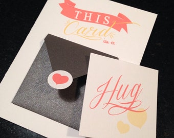 Valentine card, Hug card in a small envelope Gift card set, Snail Mail, love card