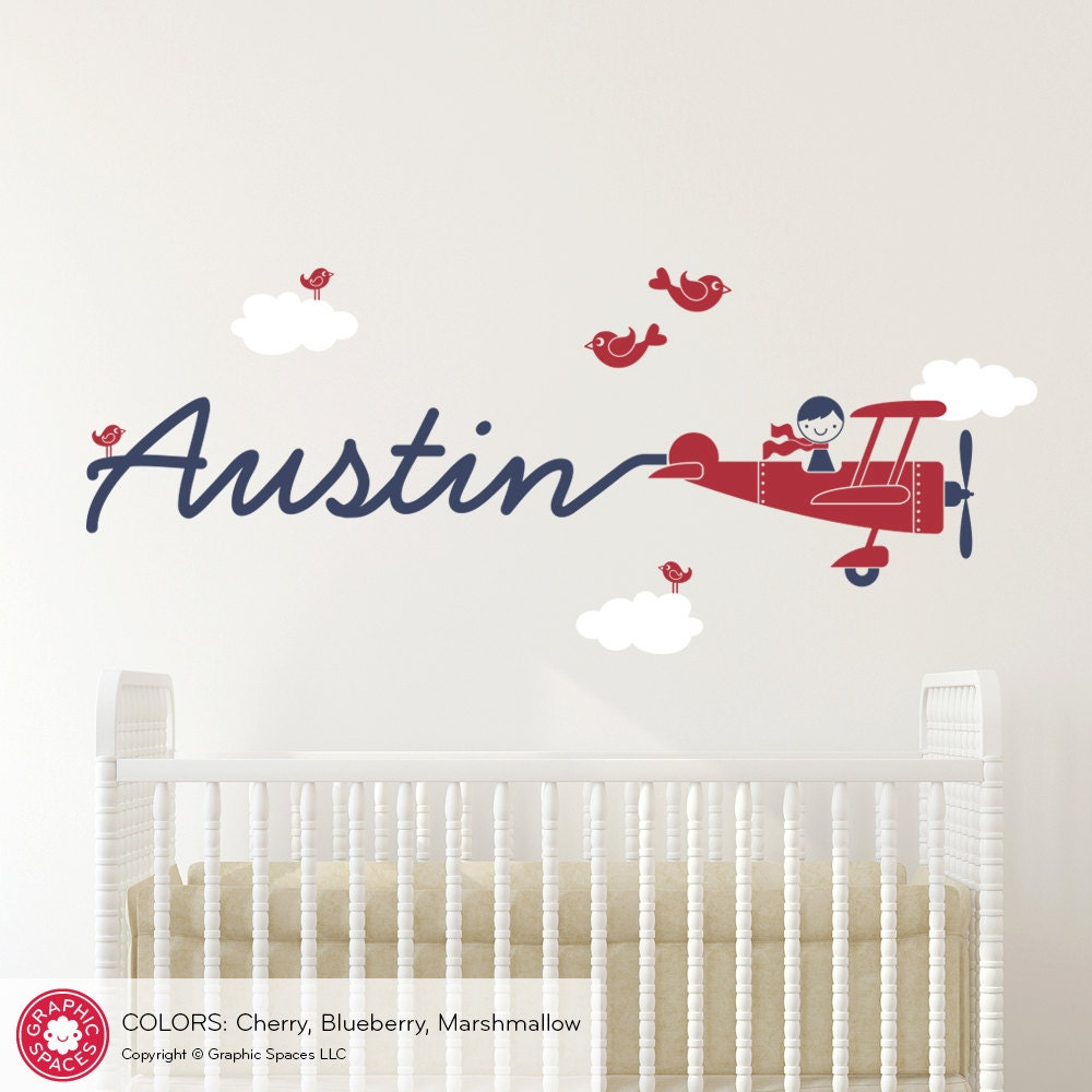 Airplane Name Wall Decal Boy Skywriter Travel Theme Nursery