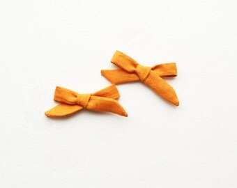 3 inch Mini Pumpkin Orange Hand-tied Simple Fabric Bow Nylon Elastic or Alligator Clip
