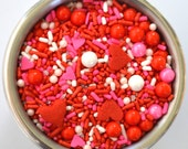 Valentines Heart Sprinkle Mix  4 ounces Cupcake Decorations Jimmies sugar pearls Sixlets