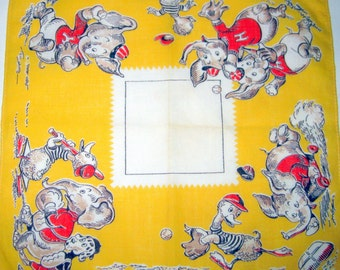 Vintage Signed Tom Lamb 1940s Handkerchief With Elephants and Ducks