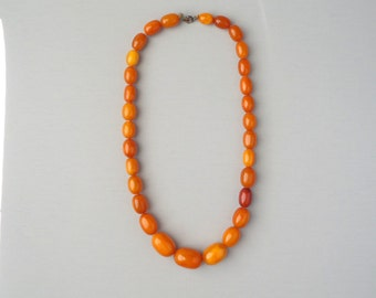 Antique Amber Necklace. Egg Yolk Amber. Butterscotch. Olive Beads.