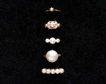 Antique Engagement Pearl Ring. Victorian Claw Set Row. 14k Gold.