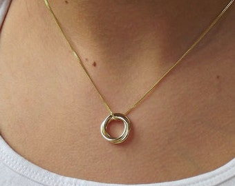 Tiny Solid Gold Trio Necklace