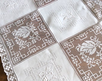 Square Army Navy Tablecloth Linen and Lace 42""