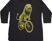 unisex LION on a BICYCLE baseball tee - Mens Black Raglan Shirt - xs S M L xl