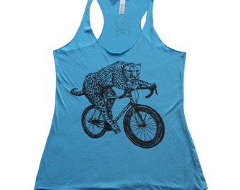 Womens Cheetah on a Bicycle - Turquoise Tank Top