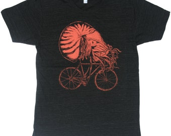 Nautilus on a Bicycle -  Mens T Shirt, Unisex Tee, Tri Blend Tee, Handmade graphic tee, sizes xs-xxl