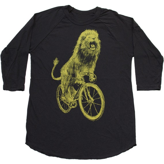 unisex LION on a BICYCLE baseball tee - Mens American Apparel Black Raglan Shirt - xs S M L xl