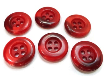 12 Cherry Vintage Buttons  Sew Through 5/8 inch 15mm Shades of Red and Ruby For Jewelry Supplies Beads Sewing Knitting