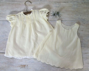 Infant Dress with Slip | 1950s Vintage Cotton Baby Dress with Embroidery & Lace Trim