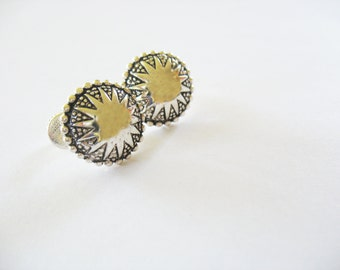 Napier Sunburst Earrings, Medallions, Sun, Round, Silvertone, Screwbacks, 1980s, Tribal, Lever, Napier Jewelry