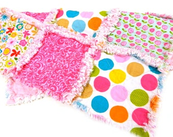 Baby Blanket, Pink Blue Flowers Dots Girl Security Woobie Lovey - Ready to mail