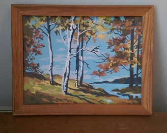 Vintage Paint By Number Woodland Scene.