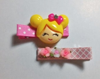 2 Pcs Sweet Girl Theme - Hair Clip for Baby and Toddler (Alligator Clip)with Silicone Non-Slip Grip