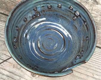 Artisan XL Extra Large Ceramic Yarn Bowl Knitting Bowl in Iron Blue with greeny rim